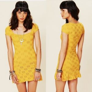 Free People Mustard Yellow Daisy Godet Dress